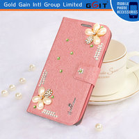 Leather Filp Magnetic Diamond Wallet Cover For Huawei Ascend G510 Silk Pattern Diamond Protective Case