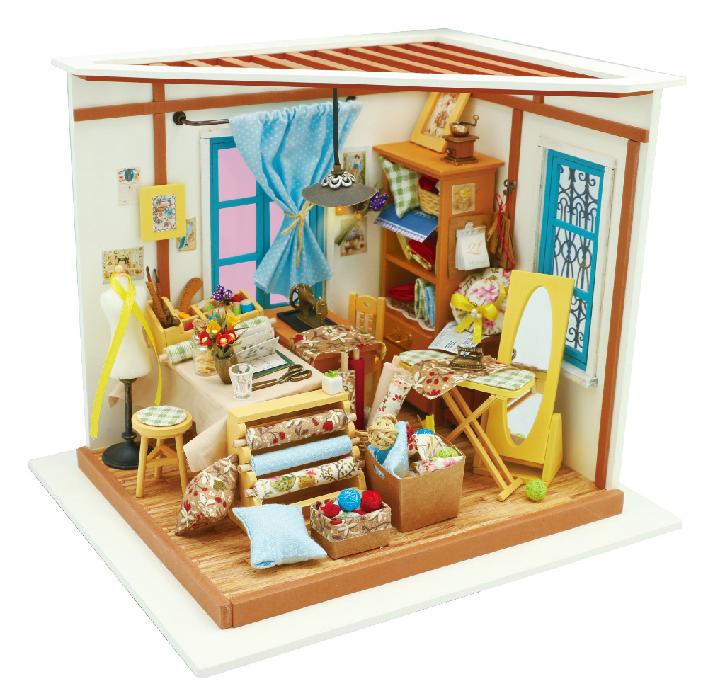 Cute Mini DIY Wooden Doll House With Light Kids gift toys for Christmas