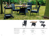 restaurant durable rattan trolley and garden table set with plastic wood top TF-131037