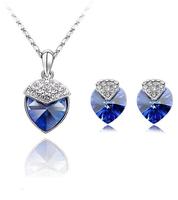 wholesale Ocean Star Full heart pendant necklace earring set silver jewelry navy blue Crystal Heart shape wedding jewelries set