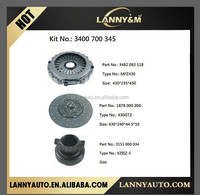 New products Renault truck clutch kit 3400700345, clutch cover 1878000206 , clutch disc 1878000205 , bearing 3151000034