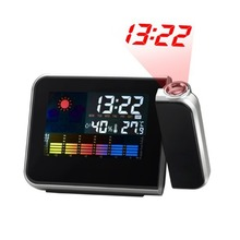 Multifunctional Digital Color LCD Display LED Projection Alarm Clock with Weather Station / Temperature / Humidity / Calendar