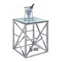 Fasion Stainless Steel Glass Top Square Tea Table/Side Table