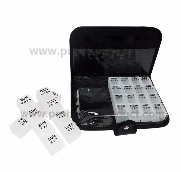 Customied Logo Plastic 7 Layers 28 Compartments Travel Flip Top Pill Box Pill Bottle Case