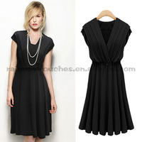 2014 new fashion sleeveless pleated designs casual western style dress