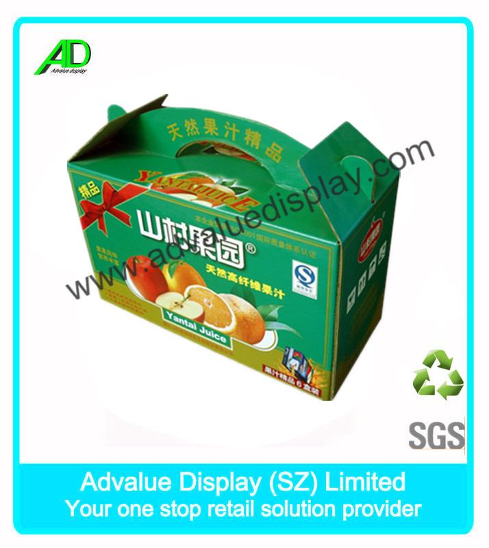 Corrugated Cardboard Printed Box with Carry Handle