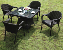 Outdoor Patio Rattan Effect Garden Furniture Dining Table and Chairs Set