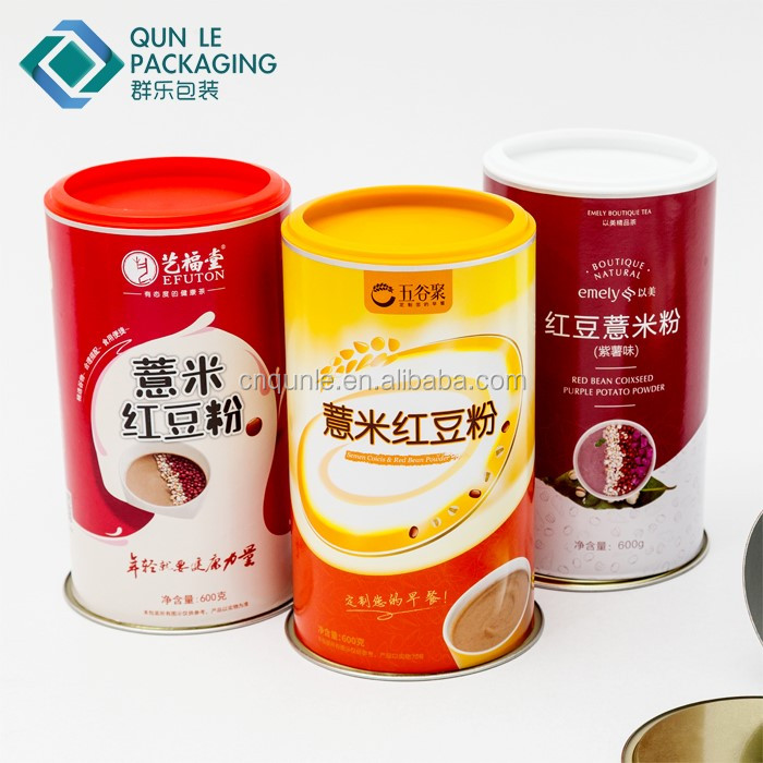 Food Grade Aluminum Foil Paper Composite Can for meal powder Food powder storage container