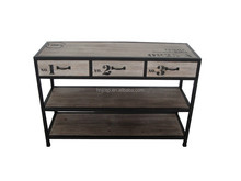 Decorative solid wood console table with 3 drawers