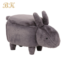 Hot selling children's seat gray fur storage stool ottoman poufs