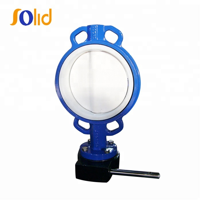 One piece type PTFE Lined wafer butterfly valve for food