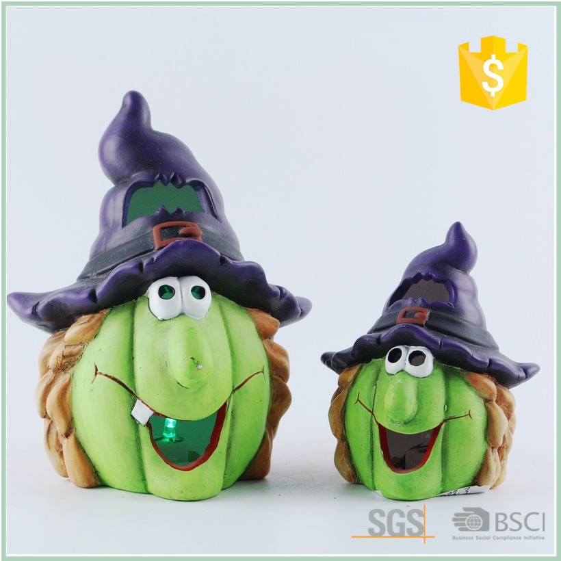 Wholesale Small Lighting Led Ceramic Halloween Witch Decoration