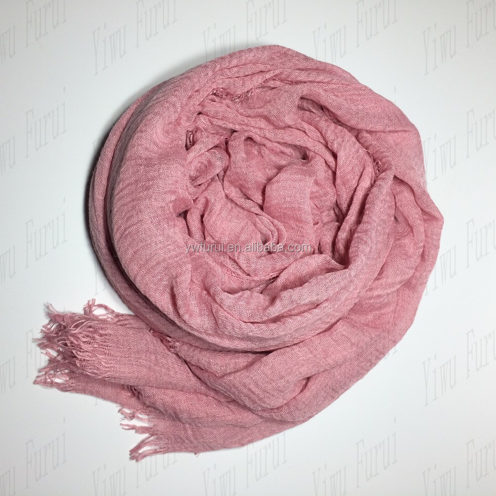 Plain Hot Sale Crinkle Cotton Hijab High Quality Pure Color Large Size Premium Winter Scarf