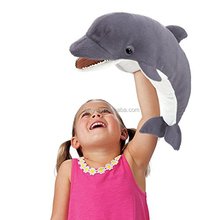 Hand use puppet plush dolphin for kids play