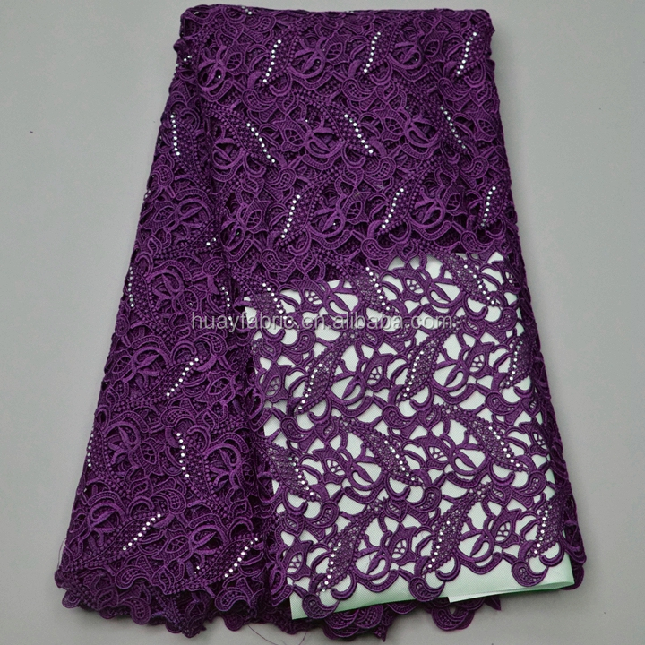 Embroidery guipure lace fabric african french geometric nigerian styles cord lace HY0226