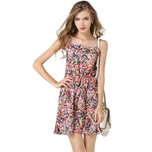 New fashion western high waist printed braces skirt women summer flower designs sleeveless chiffon lady dress for party