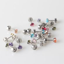 Surgical Steel Round CZ Gem Ear Piercing Studex Earring Stud Jewelry for Gift