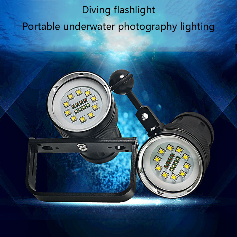 Waterproof IPX8 Underwater Photography Lighting LED Diving Torch Light 18 CREE Red / Blue / UV LED Underwater Video Light