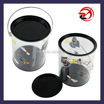 clear PVC plastic bucket with metal lid and handle