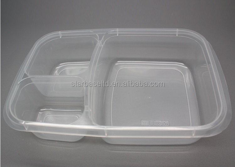Wholesale 3 compartment microwave PP waterproof lunch boxes