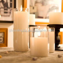 Decorate hand blown tall cylinder glass tube candle vase candle holder