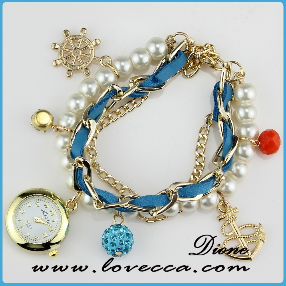 Ocean blue Leather Braided Watch Bracelet ,New arrived leather watches,Good quality leather watches with chain
