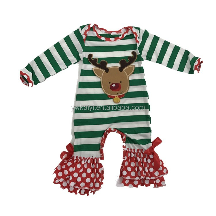 2017 Lastest Design Ffestival Baby Christmas Romper Stripe Reindeer Pattern Christmas Clothes Romper