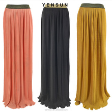 2017 OEM Sale New Colorful Chiffon pleated Long Maxi Skirt for Women