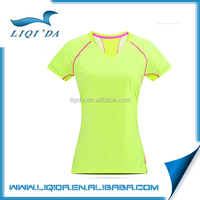 China anti-shrink cotton v-neck fluorescent green cotton woman t-shirt