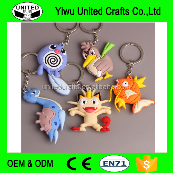 Hot Selling Pokemon Plastic Keychain Pokemon Soft PVC Rubber Keychain for Promotion