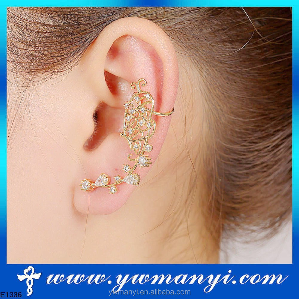 Retro Crystal Butterfly Flower Ear Cuff Stud Earring Wrap Clip On Clip Clamp New SE00089