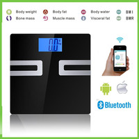 Large Platform Display Bathroom From Laboratory Weighing Electronic Lcd Digital Glass Health Body Fat Hydration Monitor Scale