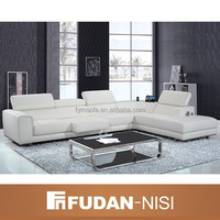 New Model Furniture FM115 For Living Room European Style Design Genuine Leather Corner Sofa White