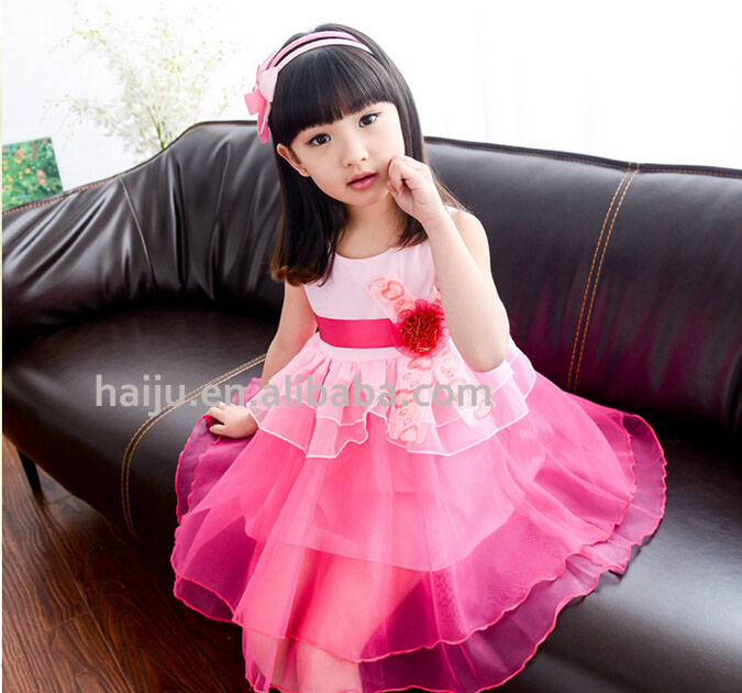 C0205 fine design wholesale sleeveless girl daily wear ,organza and cotton frill dress