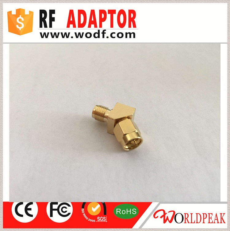 SMA Male to RP SMA Female 45 Degree RF Connector