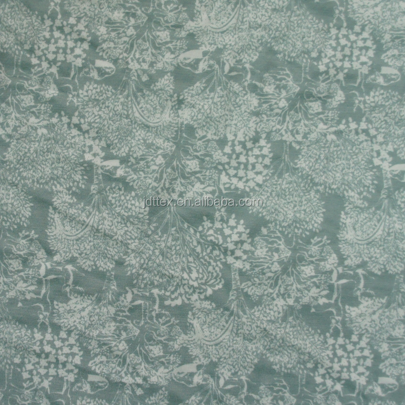 cotton spandex flower printed fabric for T-shirt 4 way stretch prints fabric