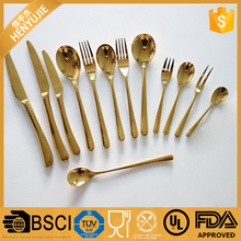 China factory wholesale gold plated cutlery, gold cutlery set, gold plated flatware wholesale