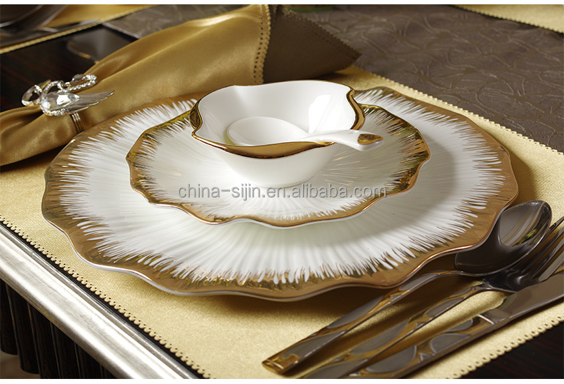 "Elegant european style 12"" 14"" gold edge plate set bone china flower shape plate breakfast plate"