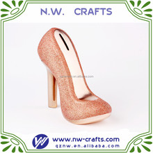 Delicate wholesale custom resin high heel shoe piggy bank