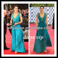2014 New Arrival Deep V Neck Evening Dresses Gowns Blue Chiffon Ruffle Lace Back Floor Length Capped Formal Prom Dresses