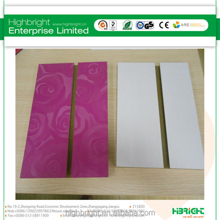 melamine MDF slat board with aluminium alloy profile insert
