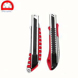 Retractable Box Cutter Utility Knife - EASY SELF LOADING Zinc Extra 4 Sharp Rust Proof Razor Snap Off Blades Set - Metal SAFETY