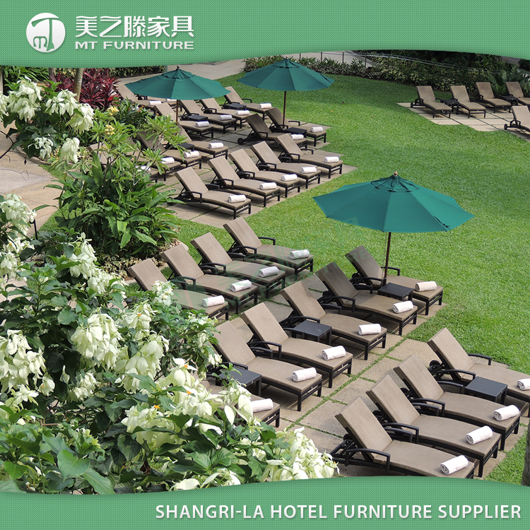 Shangri-La Hotel hospitality furniture beach swimming pool rattan chaise lounge chair