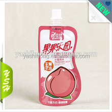Custom resealable liquid stand up spout pouch for beverage packing