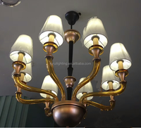 Gold candle chandeleir 8 light arms glass pendant light with white shade for factory hot sale