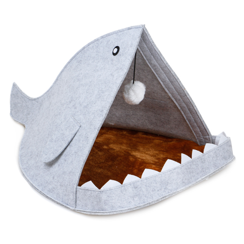 Alibaba china supplier wholesale shark shaped waterproof cute cat dog soft pet bed for pet