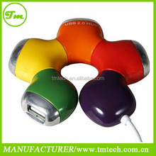 New HQ Multi Color Flower Rotatable 4 Port USB Hub High Speed Slot Hub