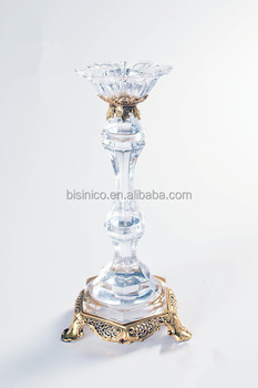 Home Decoration Italian Style Brass with Crystal Candlestick/Candleholder (BF01-0244)