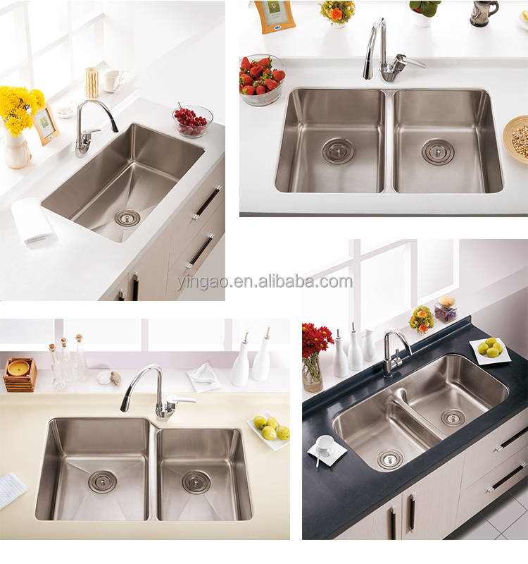 Professional Design Modern Undermount Large 304 Stainless Steel Double Bowl Sink