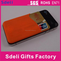Silicon cell phone credit card holder With adhesive backing